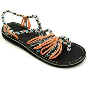 Vines Strappy Beach Babe Thong Sandals 11 New